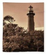 Currituck Beach Lighthouse - Sepia Fleece Blanket