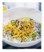 Curry Sauce Vegetable Salad With Noodles And Sesame Fleece Blanket