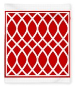 Curved Trellis With Border In Red Fleece Blanket