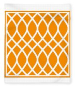 Curved Trellis With Border In Tangerine Fleece Blanket