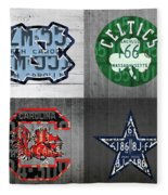 Custom 4 Team License Plates Sport Art No 1 Fleece Blanket