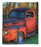 Customized Rust 1949 Ford Pickup Truck Fleece Blanket