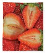 Cut Strawberries Fleece Blanket