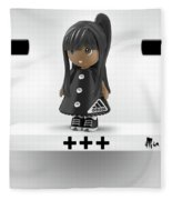 Cute 3d Girl On Shelf In Black Fleece Blanket