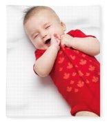Cute Baby Boy Yawning Fleece Blanket