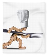 Cute Chef Box Character With Big Fork Fleece Blanket