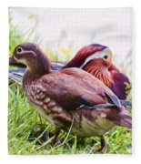 Cute Couple - Mandarin Ducks Fleece Blanket