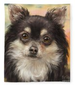Cute Furry Brown And White Chihuahua On Orange Background Fleece Blanket