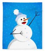 Cute Happy Snowman Fleece Blanket