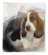 Cute Little Basset Artesien Normand Puppy Fleece Blanket