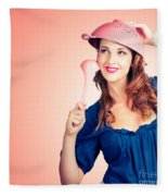 Cute Pinup Cook Thinking Up Colander Cooking Idea Fleece Blanket
