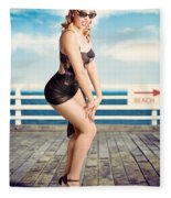 Cute Pinup Girl Looking Surprised On Beach Pier Fleece Blanket