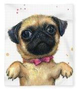 Cute Pug Puppy Fleece Blanket