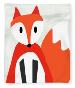 Cute Red And White Fox- Art By Linda Woods Fleece Blanket