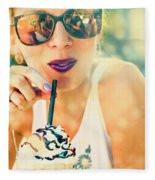 Cute Retro Girl Drinking Milkshake Fleece Blanket