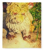 Cute Weathered White Garden Ornament Of A Dog Fleece Blanket