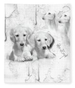 Cute White Salukis With Puppies Fleece Blanket