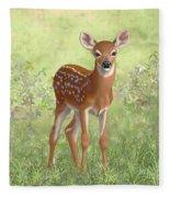 Cute Whitetail Deer Fawn Fleece Blanket