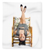 Cute Young Woman Sitting Upside Down On Chair Fleece Blanket