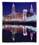 Cuyahoga Reflecting The City Above Fleece Blanket