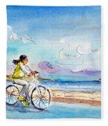 Cycling In Port De Pollenca In Majorca Fleece Blanket