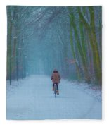 Cycling In The Snow Fleece Blanket