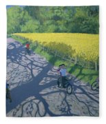Cyclists And Yellow Field Fleece Blanket