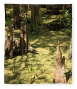Cypress Knees In Green Swamp Fleece Blanket