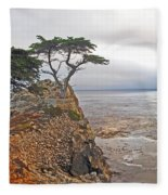 Cypress Tree At Pebble Beach Fleece Blanket