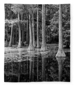 Cypresses In Tallahassee Black And White Fleece Blanket
