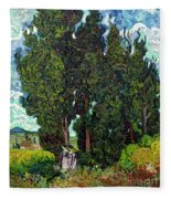 Cypresses With Two Figures, By Vincent Van Gogh, 1889-1890, Krol Fleece Blanket