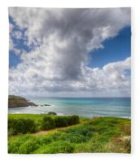 Cyprus Spring Seascape And Landscape Fleece Blanket