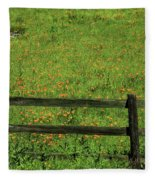 D7b6306 Fence And Poppies Fleece Blanket