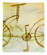 Da Vinci Inventions First Bicycle Sketch By Da Vinci Fleece Blanket