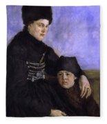 Dachau Woman And Child Fleece Blanket