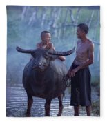 Dad And Child Happy To Live In The Countryside,thailand, Vietnam Fleece Blanket