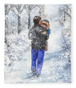 Dad And Child In The Winter Snow Fleece Blanket