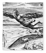 Daedalus Escaping From Crete With His Son, Icarus, Sees Him Falling To His Death Fleece Blanket