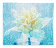Daffodil Flower In Rain. Digital Art Fleece Blanket