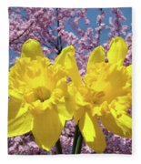 Daffodil Flowers Spring Pink Tree Blossoms Art Prints Baslee Troutman Fleece Blanket