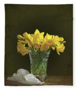 Daffodil Still Life Fleece Blanket