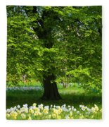 Daffodils And Narcissus Under Tree Fleece Blanket