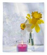 Daffodils And The Candle Fleece Blanket