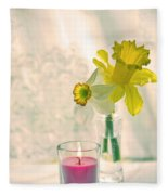 Daffodils And The Candle V3 Fleece Blanket
