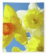 Daffodils Art Print Floral Sky Bouquet Daffodil Flower Baslee Fleece Blanket