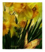 Daffodils - First Flower Of Spring Fleece Blanket