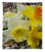 Daffodils Flower Artwork 29 Daffodil Flowers Agate Rock Garden Floral Art Prints Fleece Blanket