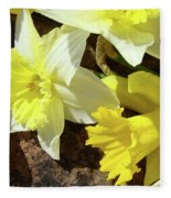 Daffodils Flower Bouquet Rustic Rock Art Daffodil Flowers Artwork Spring Floral Art Fleece Blanket