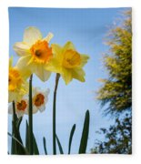 Daffodils In The Sky Fleece Blanket