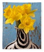 Daffodils In Wide Striped Vase Fleece Blanket